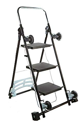 Kerry Kart 4-in-1 Rolling Utility Cart, Trolley and Moving Dolly with Folding 3-Step Ladder – Move Boxes, Furniture and Appliances with 1 Foldable Cart and Step Stool (Black)