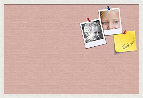 PinPix pin Cork Bulletin Board Made from Canvas, Pink Pastel 36x24 Inches 2 x 3 ft and Framed in Satin White Frame (PinPix-Group-89)