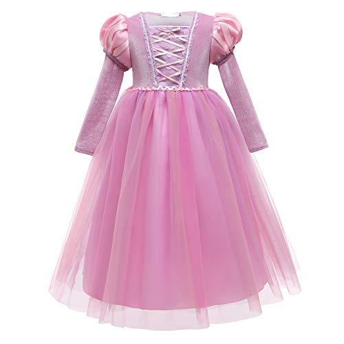 Disfraz de Rapunzel Nia Vestido Princesa Sofa Fiesta Carnaval Halloween Cosplay Vestirse Falda de Tul Manga Larga Ceremonia Cumpleaos Ropa Morado 2 6-7 aos