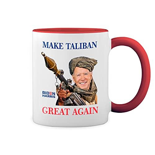 Make Taliban Great Again Biden Afganistan Blanco Taza Aro y Mango Con Rojo Mug