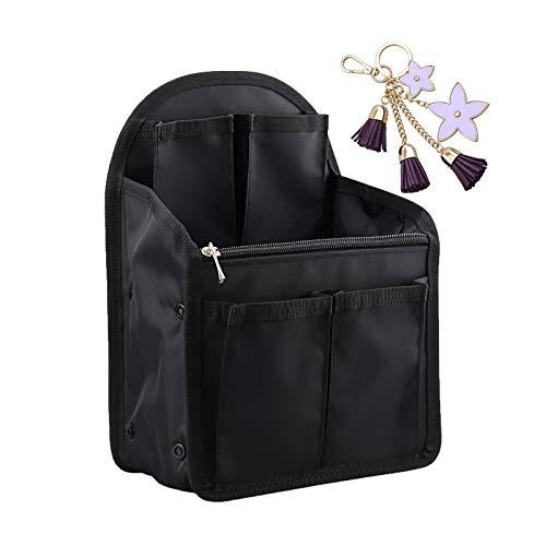 FUKUYIN バッグインバッグ リュックインバッグ 13個ポケット インナーバッグ 縦型 リュック バックインバッグ 軽量 miniバッグ 小さい 仕分け 防水収納バッグ タテ型自立 ナイロン メンズ ディスバッグ中身整理Bag In Bag(可愛い キーホルダー付き)