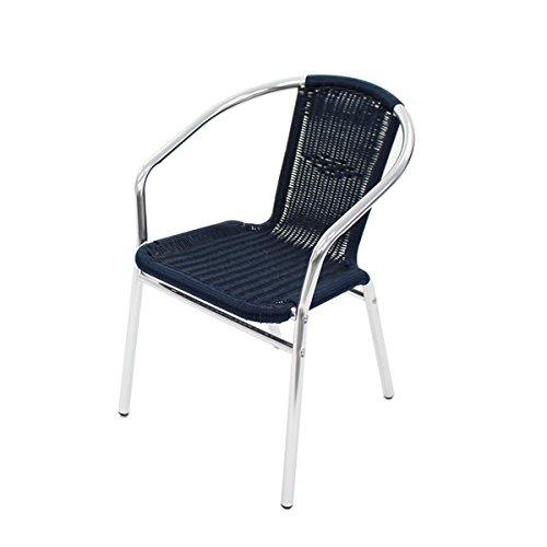 アルミチェア 4脚セット 人工ラタン ダイニングチェア リゾートチェア ロビーチェア ガーデンチェア ラタンチェア スタッキングチェア 会議椅子 ラウンジチェア 軽量で持ち運び簡単 ビーチチェア スタッキング アウトドア ラタン (人工) ダークブルー L