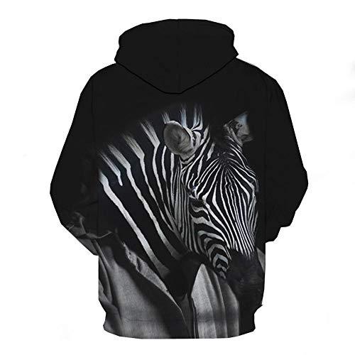 Mode Mannen Herfst Winter Zebra 3D Print Lange mouwen Hooded Sweatershirt Top Blouse