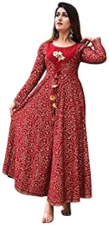 KEEP CART Women's Rayon Printed Flared Gown Kurti with Dori | Anarkali Style Round Neck Full Sleeves Kurta for Girl's