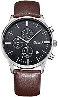 Megir Mens Quartz Watch, Chronograph Display and Leather Strap - 2011G-11