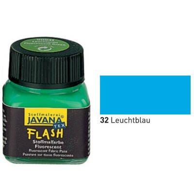 Javana Textil FLASH Neon fluoreszierende Stoffmalfarbe 20ml, Leuchtblau