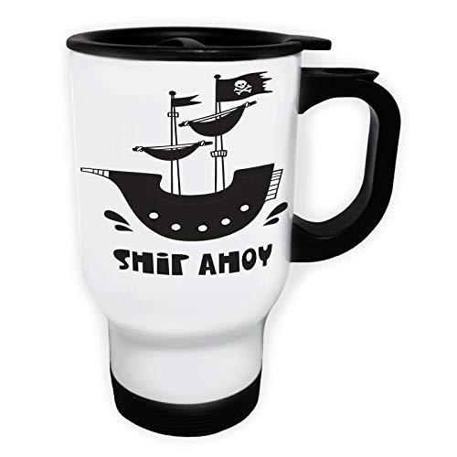 Ship Ahoy Pirate Ship Taza de viaje térmica de color blanco
