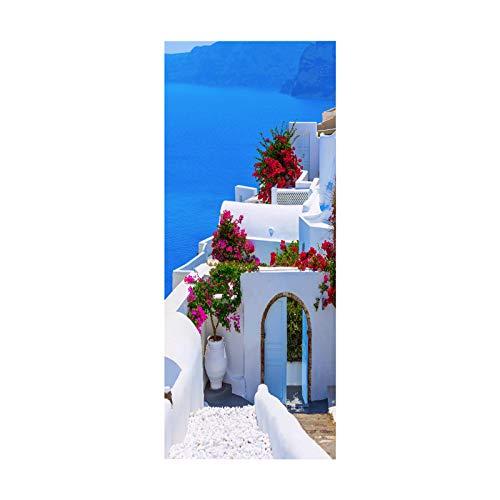 HOPAX Castillo de Agua Pegatinas Puerta Mural Papel Tapiz Dormitorio Oficina Sala de Estar Carteles de baño decoración 95 * 215 cm