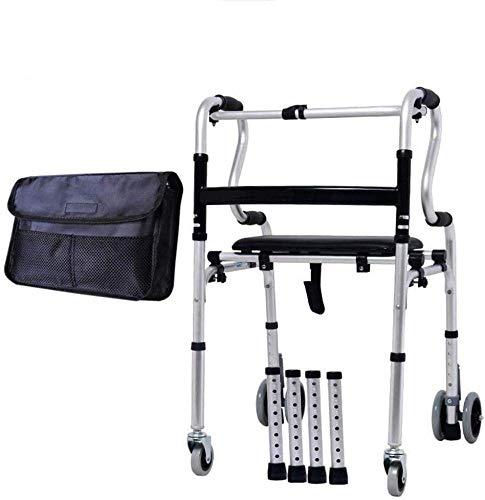 XCY Medical Instruments Aluminio Rollators Walker con Asiento Ajustable Marco Walker Ancianos Bañera Ducha Silla de Baño de Asiento de Heces Ayuda para Caminar para Mayores Lisiados