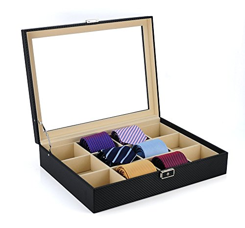 Tie Display Case for 12 Ties, Belts, and Men's Accessories Black Carbon...