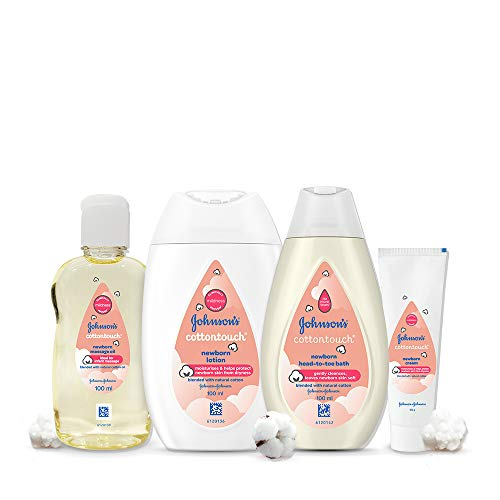 Johnson's Baby Cotton Touch Complete Baby Care Gift Set – Baby Bath 100ml, Baby Lotion 100ml, Baby Massage Oil 100ml with Free Baby Cream 50g