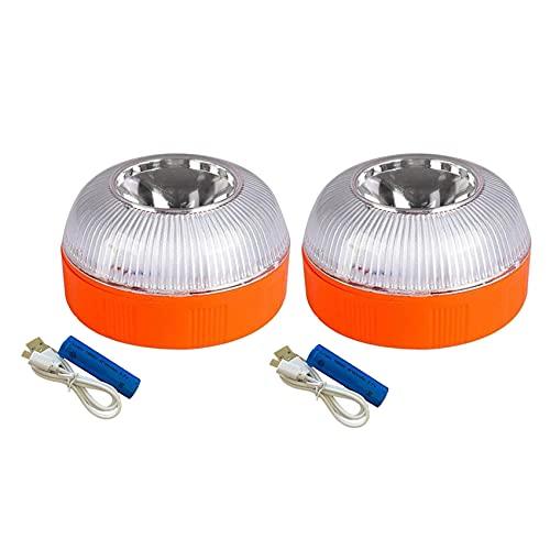 Beada 2 Piezas Luz de Emergencia para Coche, Luz de Baliza de Emergencia Recargable por USB, Luz de Advertencia Intermitente de Carretera LED para Barco, CamióN Marino