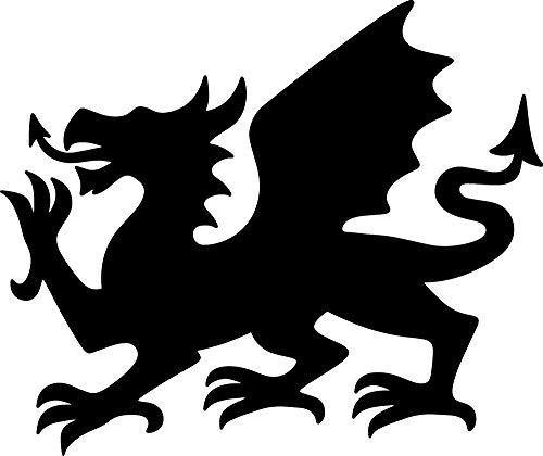ANGDEST Welsh Dragon Silhouette (Black) (Set of 2) Premium Waterproof Vinyl Decal Stickers for Laptop Phone Accessory Helmet Car Window Bumper Mug Tuber Cup Door Wall Decoration