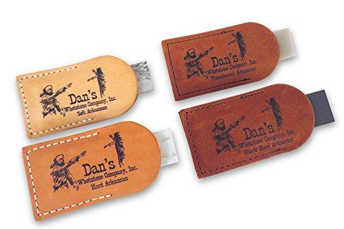 "Bundle- 4 Piece Set Arkansas Pocket Sharpening Stones 3"" x 1"" x 1/4"" in Leather Pouches- Soft (Medium), Hard (Fine), Translucent (Extra Fine) and Black (Ultra Fine) MAP/TAP/FAP/BAP-13A-L"