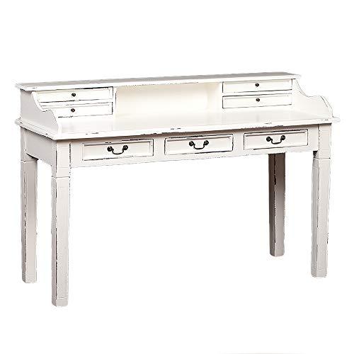 LEBENSwohnART Sekretär Ilena Antik-Weiß ca. L150cm Mahagoni Massivholz Schreibtisch Tisch