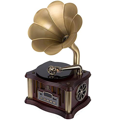 ZHIRCEKE Bluetooth Record Player Portable Version Gramophone Vintage Retro Style Subwoofer Speaker/Aux-In, CD, FM/AM Radio, Home Decor Gift,C