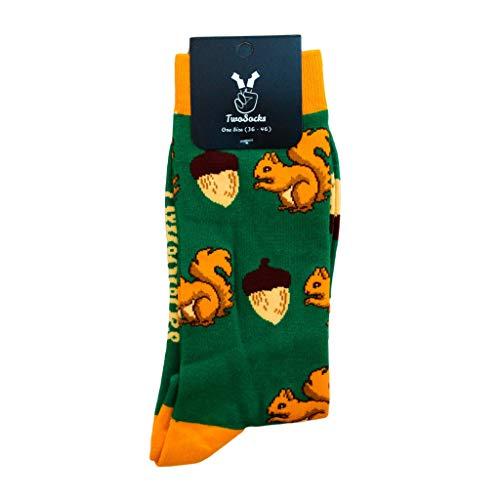 TwoSocks lustige Socken | Damen und Herren | witzige Eichhörnchen Strümpfe als Geschenk | Baumwolle | Einheitsgröße