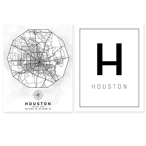 Houston TX Street Map Wall Art - Texas Aerial Road View - Set of 2 11 x 14 Unframed Minimalist Art Decor - City Name Print - Ideal Gift for World Travelers, Architects, Civil Engineers