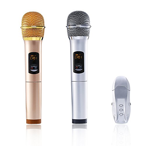 yunque K18U Microphone Dual Bluetooth with Receiver Box Various Frequency Full-Metal UHF Professional Wireless System for Home KTV Education (gold+silver)