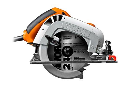 WORX WX425 Handkreissäge 1200W - zum Sägen von Holz, Aluminium & Stahl - präzise Gehrungsschnitte – Einstellbare Schnittwinkel & Parallelanschlag – 160mm Sägeblatt mit 24 Zähnen