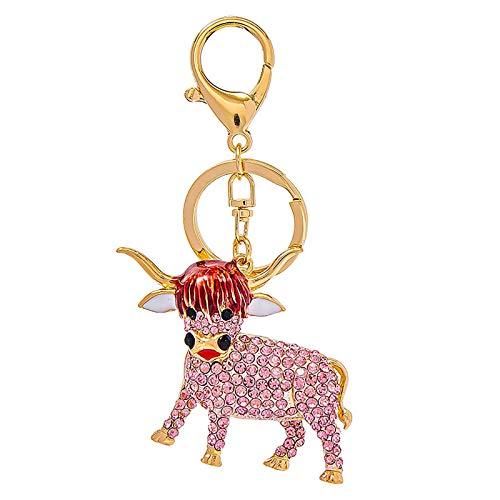 Kuh Schlüsselbund Miniatur Kuh Figur Tiere Schlüsselbund Charme Strass Handtasche Anhänger Rucksack Schlüsselanhänger für Chinesische Ochsen Neujahr Party Gefälligkeiten
