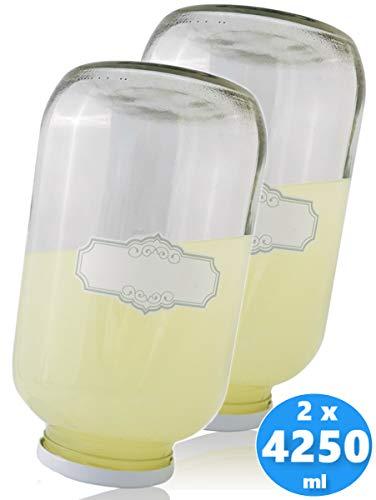 SMIJOS 4 Liter Glas Vorratsbehälter Set - perfekt für Einmachen und Fermentation von Kombucha Pilz o. Kefir - Große Einmachgläser mit Deckel
