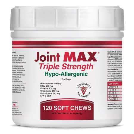 Joint MAX Triple Strength Hypo-Allergenic Soft Chews for Dogs - Hip and Joint Support Supplement with Glucosamine, Chondroitin, & MSM - Made in The USA - 120 Soft Chews