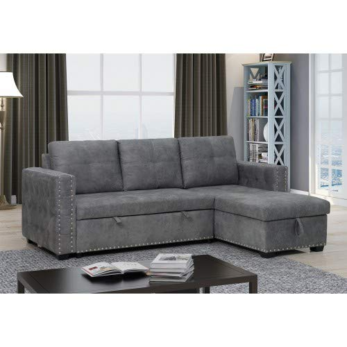 Merax Sleeper Sectional Sofa Contemporary Corner Sectional with Pull-Out Sleeper and Chaise,3 Seat Sectional Sofa with Storage, Dark Gray