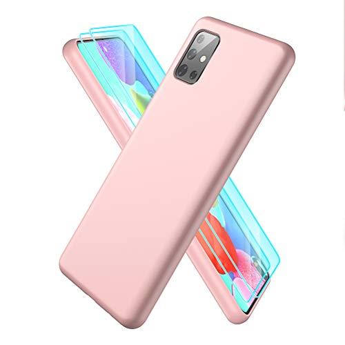 XinYue - Hülle für Samsung Galaxy A51 + [2 Stück] Panzerglas, Schlank Weich Dünn TPU Hülle Stoßfest Anti-Scratch Hülle Mit Mikrofaser - Rosa