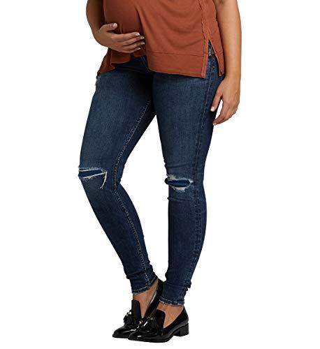 Silver Jeans Co. Women's Suki Curvy Fit Maternity Skinny Jeans, Destructed Indigo, 30x29