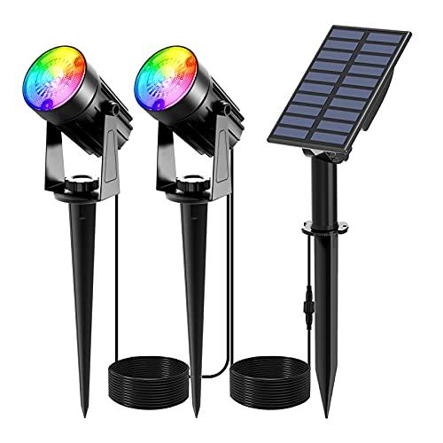 Solar Gartenleuchte RGB, NATPOW Gartenstrahler Solar Gartenlampe Solar für außen mehrfarbig mit RGB Farbwechsel 6 Farben IP65 wasserdicht für Bäume Sträucher Gartenweg