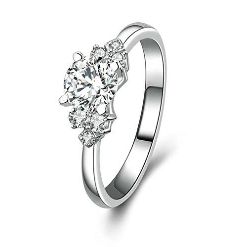 Adokiss Anillo de compromiso 925, anillos de compromiso, anillos de boda, anillos de compromiso, anillos de compromiso de 4 puntas, color blanco, redondo brillante, circonita, tamaño 55 (17,5)