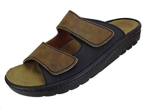 Algemare Herren Pantolette Leder Algen-Kork Wechselfußbett waschbar Nubuk Veluret 72602_3427 Sandalette Fußbettsandale Herstellung in Deutschland, Größe:43 EU