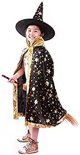 Anzmtosn Halloween Costumes Witch Wizard Cloak Cape Hat Child's Kids Costume Cosplay Fancy Dress for Party