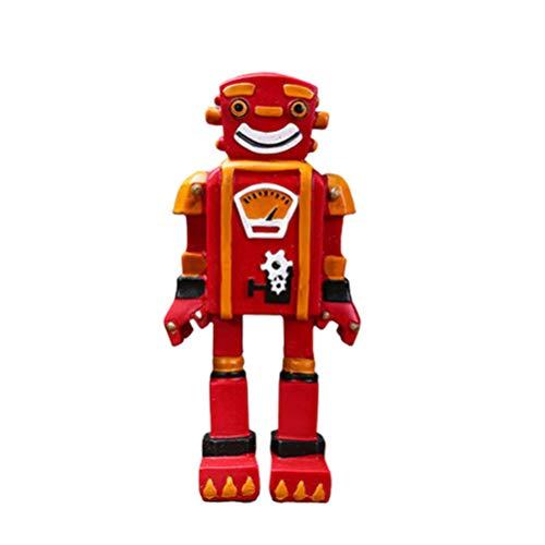 Garneck Vintage Robot Colección Juguete Retro Dibujos Animados Modelo Robótica Estatua Adornos Resina Escritorio Decoración Foto Prop para Café Restaurante Oficina (Rojo)
