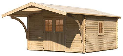Gartenhaus mit Vordach Drau 6 mit Vordach 1,80 m Tiefe, naturbelassen, 38 mm Wandstärke - 3,87 x 5,59 x 2,53 m (B x T x H)