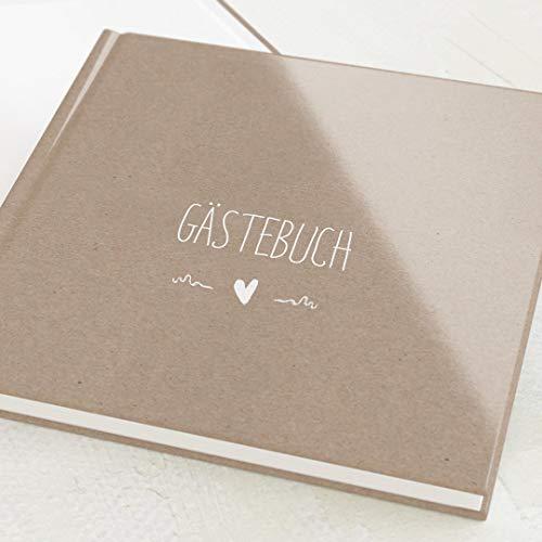 sendmoments Gästebücher, Passend, hochwertige Blanko-Innenseiten, 32 Seiten oder mehr, Hardcover-Buch, quadratisch, personalisierbar - Vintage Kraftpapier