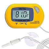 SunGrow Reptile Yellow Digital Thermometer, Waterproof Sensor Probe Monitors Temperature A...
