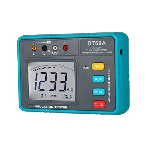 Benkeg DT60A Hochspannungs-Isolationswiderstandstester Batteriebetriebene LED Digitales Ohmmeter Megohmmeter