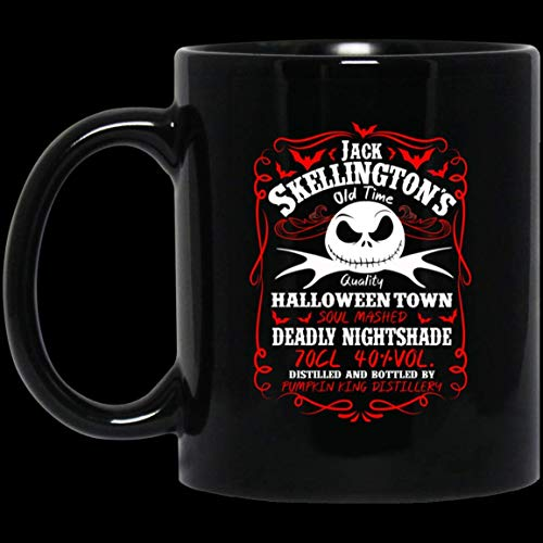 N\A Etiqueta de Whisky Jack Skellington Divertida la Pesadilla Antes de Navidad de cerámica - Divertida Taza de Navidad y San valentín - Taza de café