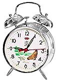 JS Sveglia da Comodino Analogica Vintage Stile Retro Orologio da Tavolo, a Carica Manuale a Corda, con Gallina Che Becca Il Grano e ticchettio lancette. Colore Argento