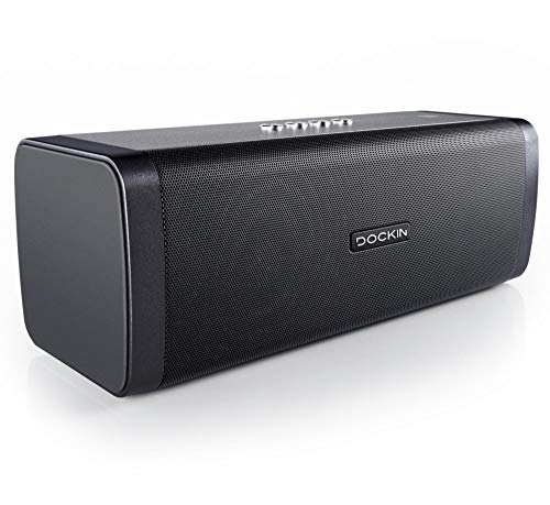 DOCKIN® D FINE Bluetooth Lautsprecher - 50 Watt Stereo HiFi Speaker für Indoor/Outdoor mit starkem Bass, Wireless, wasserdicht