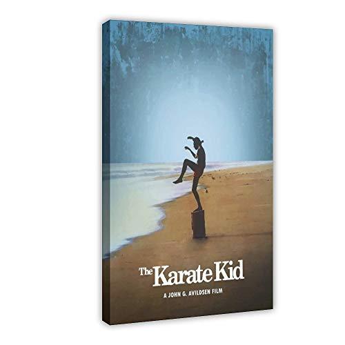 Minimale Filmposter The Karate Kid Leinwand-Poster, Wandkunst, Dekordruck, Gemälde für Wohnzimmer, Schlafzimmer, Dekoration, 60 x 90 cm, Rahmen