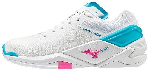 Mizuno Damen Wave Stealth Neo Handballschuh, White/PinkGlo/BlueAtoll, 39 EU