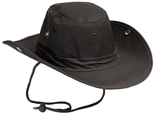 Chapeau de brousse Chapeau de ranger US avec boutons pression côtelé Nombreuses couleurs et tailles - noir - XL