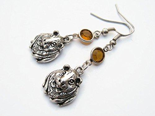 Guinea Pig Birthstone Earrings, Personalized Rodent Earrings, Cute Animal Earrings, Pet Jewelry
