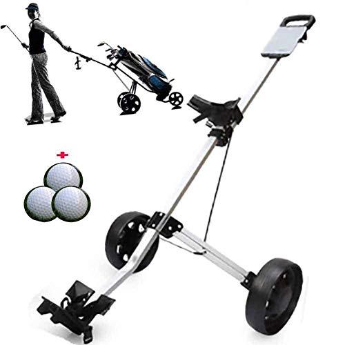 Fantastic Deal! XFY Golf Push Cart 2 Wheel, Adjustable Height Push Pull Golf Steel Frame Cart, Light...