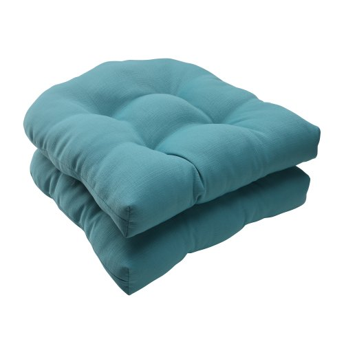 Pillow Perfect Outdoor/Indoor Forsyth Pool Tufted Seat Cushions (Round Back), 19' x 19', Turquoise, 2 Pack