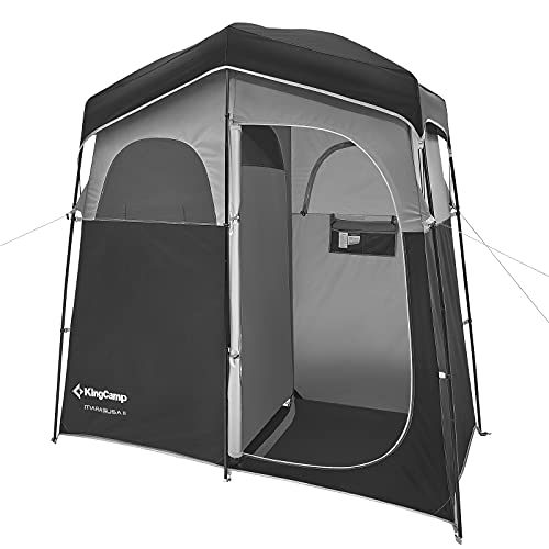 KingCamp Oversize Outdoor Camping Dressing Changing Room Shower Privacy Shelter Tent (Black/MediumGrey)