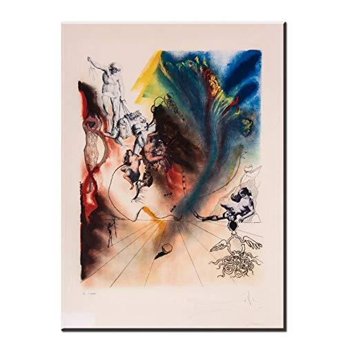 AZTeam Salvador Dali Firmado L/E Litografía Mad Tea Party De Alicia En El País De Las Maravillas Suite Cuadros En Lienzo para Decoración De Sala De Estar Art-50X70Cm Sin Marco